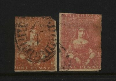 Australian States Victoria 2 Early QV 1d Imperf Stamps Used