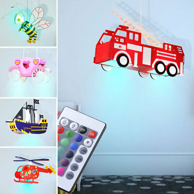 LED Ceiling Children Light Bee Car Wagon Ship RGB Remote Control Dimmable