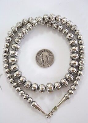 Vintage Navajo Sterling Silver Pearls Bench Beads Necklace