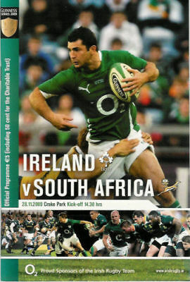 IRELAND v SOUTH AFRICA 2009 RUGBY PROGRAMME