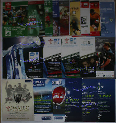 Welsh Rugby Union Cup Final Programmes 1996 - 2015 Good Condition Wru Swalec
