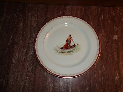 Antique Syracuse China plate American Indian in Canoe