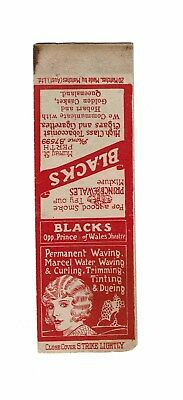 1 Old Australian 1930s Bookmatch Cover Blacks Tobacconists.