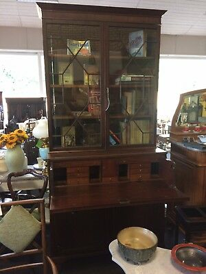 Antique Astragal Glazed Bookcase Secretaire Drawer Cupboard Under Mahogany