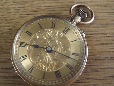 Superb Antique 9 Carat Gold Ladies Fob / Pocket Watch With Gilt Dial