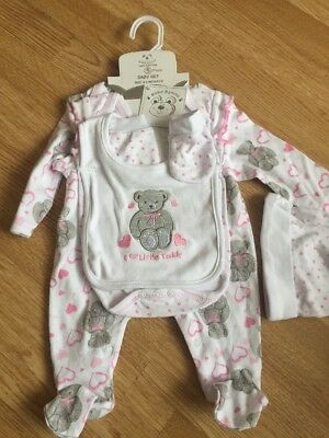 BNWT Baby Girls Sleepsuits Short Outfits Age 0-3 Months Gift Present Shower