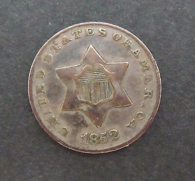 1852 Silver Three Cent Piece~Trime~
