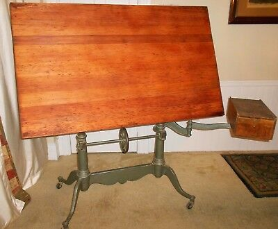 Antique Keuffel & Esser Cast Iron Drafting Table w/ Armature & Tool Drawer K+E