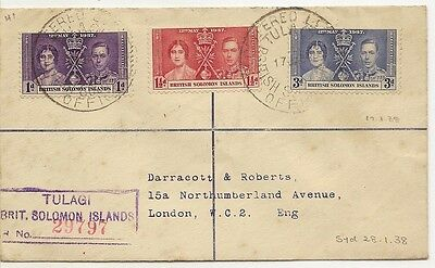 Br Solomons 1938 Coronation Cover to UK