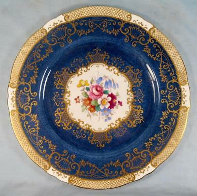 Crown Staffordshire Pattern A15416 Dinner Plate Multicolored Flowers Cobalt (O)