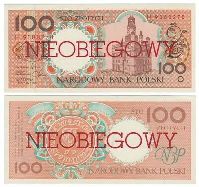 1oo Zlots Polish banknote issued in 01.03.1990 H aunc