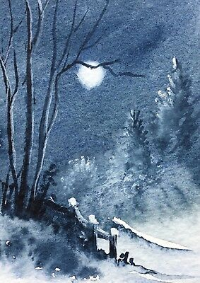 Original Art Small ACEO painting watercolour Moonlit Trees by Pamela West