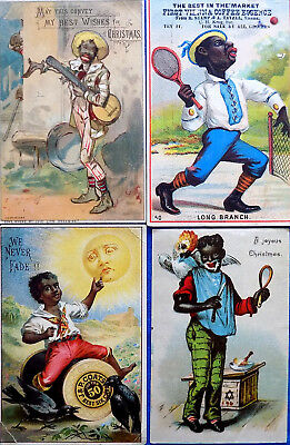 c1890 CHRISTMAS GREETING & TRADE CARDS x 4 ~ NEGRO CHARACTERS ~ BLACK AMERICANA