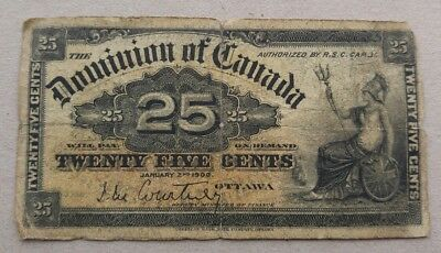 1900 Dominion of Canada 25 cent Bank Note Shinplaster Fractional Courtney 6