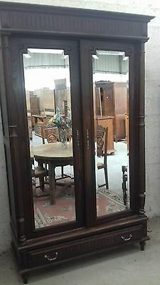 Lovely FRENCH ANTIQUE CARVED MIRROR DOOR ARMOIRE/SIDE PILLARS LINEN PRESS