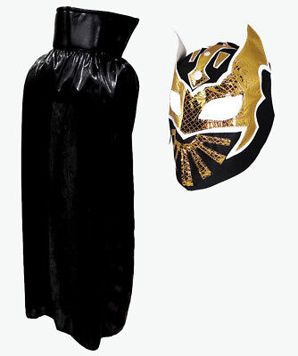 "SIN CARA Lucha Libre Halloween YOUTH JR Costume Lycra Cape 30"" & Mask - Black"