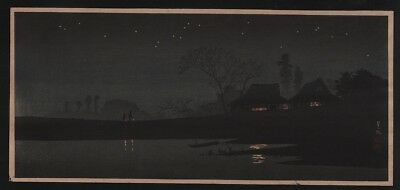ORIGINAL Japanese Woodblock Print by SHOTEI - A Starlight Night