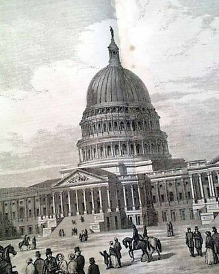 Great UNITED STATES CAPITOL BUILDING Pre Civil War Era PRINT 1856 Old Newspaper