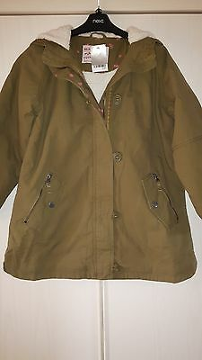 Bnwt Girls Age 11 Khaki Green Hooded Parka Jacket Coat Fleece Lined By Next £40