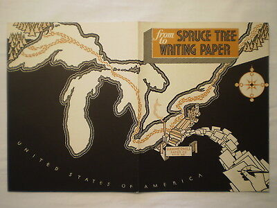 Vintage 1936 Hammermill Paper Co Erie Pa Spruce Tree To Writing Paper Brochure