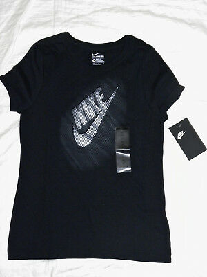 girls youth NIKE frequency black short sleeve tee t-shirt top size M NEW nwt