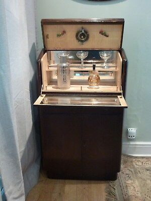 Vintage Dark Wood Cocktail Cabinet / Drinks Cupboard / Bar By Nathan