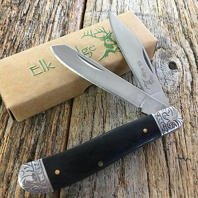 ELK RIDGE BLACK WOOD GENTLEMAN'S 2 Blade Folding Pocket Knife Fancy Bolsters -M