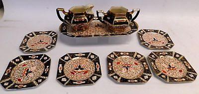 Vintage WADE 9 Piece Blue & Red Hand Painted Earthenware Pottery Tea Set - S91