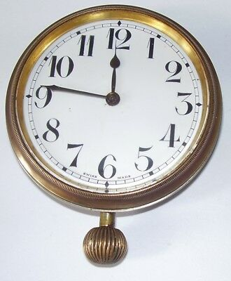 Vintage Swiss Car Clock For Small Repair Balance Spring Is Fine Nice Condition