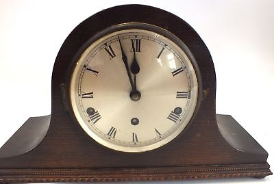 Unbranded Wooden Chiming MANTLE CLOCK Functions Correctly  - S89
