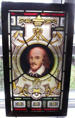 Victorian Painted Stained Glass Window Shakespeare Circa 1870 Arts & Crafts