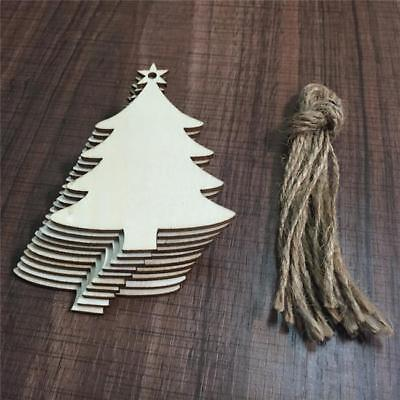 10pcs Christmas Wood Chip Ornaments Festival Party Xmas Tree Hanging Decoration