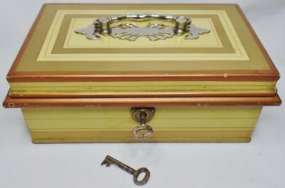 Antique Newton Shakespeare Garrison Locking Cash Strong Jewelry Box W/2/org/keys