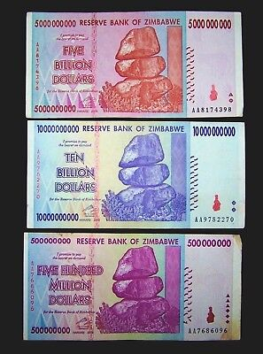 3 Zimbabwe banknotes-1 x 500 Million / 5 & 10 Billion dollars -paper currency