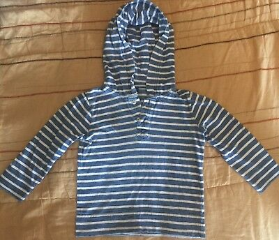 babyGap Toddler Boy's Blue and White Striped Hoodie Henley Shirt Size 3T