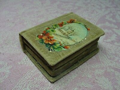 Antique Victorian Velvet Needle Holder Case Book Shaped Box