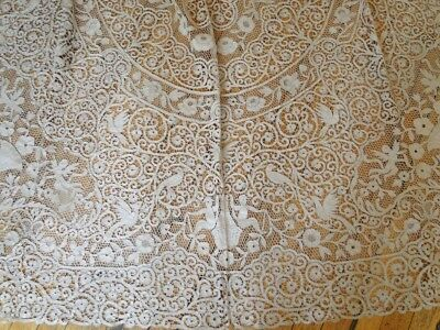 """Ornate 128"""" Cantu Lace Banquet Tablecloth W/cupids, Urns,birds, Flowers"""