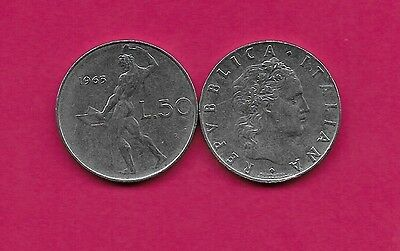 Italy Rep 50 Lire 1963R Xf Vulcan Standing At Anvil Facing Left Divides Date & V
