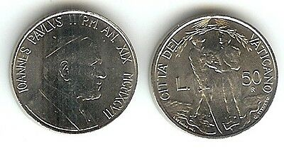 Vatican City 50 Lire 1997 Unc Man W/sword Man W/dove