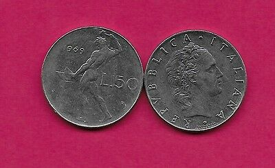 Italy Rep 50 Lire 1969R Xf Vulcan Standing At Anvil Facing Left Divides Date & V