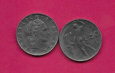Italy Rep 50 Lire 1972R Xf Vulcan Standing At Anvil Facing Left Divides Date & V