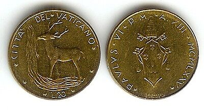 Vatican City 20 Lire 1975 Unc Crowned Shield & Red Deer