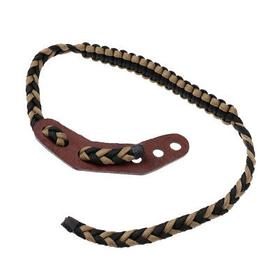 Archery Bow Wrist Sling Braided Paracord Strap w/ Leather for Compound Bow