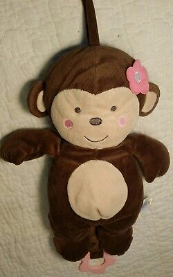 Just One You Monkey Brown Pink Plush Crib Pull Toy Musical Rock A Bye Baby tan