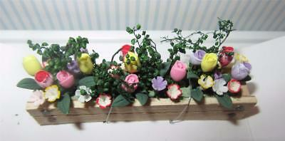 Miniature Dollhouse 1:12 Scale Spring Crocus & Tulips  In Window Box - A410