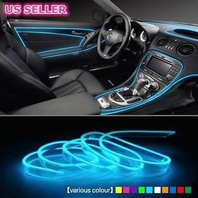 5M Flexible Neon Light Glow EL Wire Rope Cable Xmas Strip Party Car String US