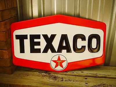 "Texaco Star Large Embossed Metal Tin Sign 24"" Texas Shop Garage Car Man Cave New"