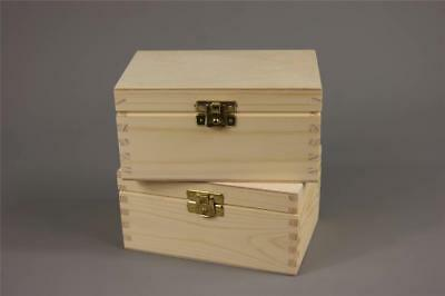 Wooden Tea Bag Box 2 Compartments Sections Storage Caddy Chest Organiser (H2)