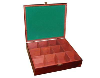 Wooden Tea Bag Box 12 Compartments Sections Storage Caddy Chest Organiser H12LZF