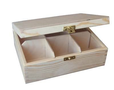 Wooden Tea Bag Box 6 Compartments Sections Storage Caddy Chest Organiser (H6)
